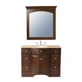 "Lotus 48"" Bathroom Vanity Set in Dark Brown with Marble Top"