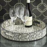 Faux Snakeskin Round Serving Tray