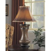 Table Lamp in Model Brown with Lace Trim Shade