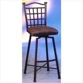 Bay Point Swivel Barstool with Florentine Coffee Fabric in Matte Black