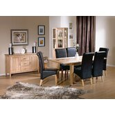 Carlton Ash Extending Dining Room Set with Bi-Cast Leather Chairs