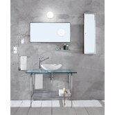 "Linea Rela 20"" Bathroom Vanity in Polished Chrome in Sandblasted Glass"