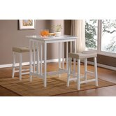 3 Piece Counter Height Bar Table Set in White