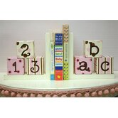 ABC 123 Bookends in Pink / Chocolate