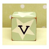 """v"" Letter Block in Green"