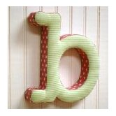 &quot;b&quot; Fabric Letter in Pink / Green
