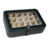 Elaine Faux Leather Crystal Jewelry Box with 24 Sections in Black