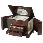 Rita Locking Jewelry Box with Pearl Pulls in Cherry