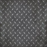 "Metro Design Textured Metallic Tile 18"" Vinyl Tile in Black"