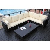 Chicago Weave L-Shape 6 Seater Sofa Set in Black Super