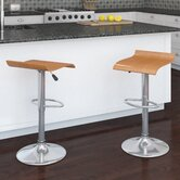 CorLiving Curved Bentwood Adjustable Barstool (Set of 2)