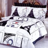 Eiffel Gray 6 Piece Full / Queen Duvet Cover Bed in a Bag Set