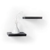 Short Logan Bracketless Ledge Shelf in Black (Set of 2)