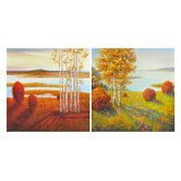 """Still Waters in Autumn I and II"" Oil Painting (Set of 2)"