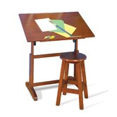 Creative Hardwood Drafting Table and Stool Set