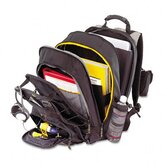 CityGear Chicago Notebook Backpack, Nylon, 15 x 18-3/4, Black/Gray/Yellow