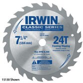 SPRINT&reg; 25130 7 1/4&quot; X 24 Tooth X Universal Circular Saw Blades For Wood (Bulk Packaging)