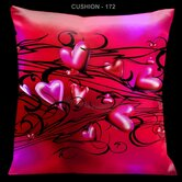 Valentines Pillow with Black Scrolls