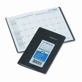 14-Month Unruled Monthly Planner, 3-3/8 x 6-1/16, Black, 2013