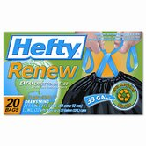 Hefty Renew Recycled Kitchen &amp; Trash Bags, 33 Gal.,1.1 mil, 24 x 27 1/4, Black, 20/Box