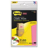 Super Sticky Removable Label Pads, 4-5/8w x 2-7/8h, Orange/Pink, 50 Labels/Pack