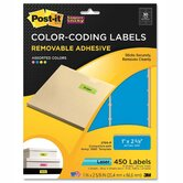 Super Sticky Removable Color-Coding Labels, 2-5/8w x 1h, Assorted Neon, 450/Pack