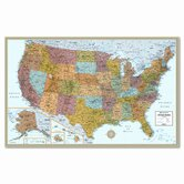 M-Series Full-Color Laminated United States Wall Map