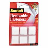 "Reclosable Hook & Loop Fastener Squares, 7/8"" Wide, White, 24 Sets/Pack"