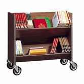 Double Sided Book Truck with 3 Shelves