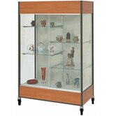 Mobile Trophy and Art Display Case with Half Width Shelves