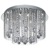 Modern Eight Light Semi Flush Mount in Chrome