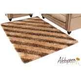 Destiny Brown Striped Shag Rug