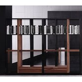 Quaderna Open Bookcase in Walnut and Black High Gloss