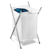 Folding Hamper with Cover in Chrome