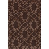 Hooked Scroll Chocolate Rug