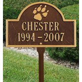 Pet Paw Mini Arch Two Line Lawn Marker in Antique Copper