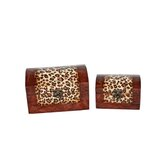 Two Piece Dome Shaped Wooden Treasure Chest Set in Brown
