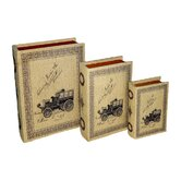 Book Box with Large Print Vintage Automobiles (Set of 3)