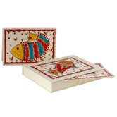 The Vidushini Artisan Fish Of India Madhubani Greeting Card (Set of 8)
