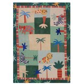 Kinder Jungle Play Green Kids Rug