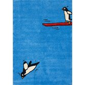 KinderLOOM Flying Penguins Sky Kids Rug