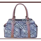 Faux Leather Handbag Pet Carrier in Zebra