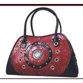 Faux Leather Handbag Pet Carrier in Burgundy Rings