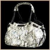 Faux Leather Handbag Pet Carrier in Snake Beige