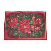 Seasonal Poinsettia Design Novelty Rug