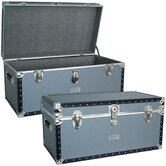 Classic Silver Trunk with FullTray with Black Binding