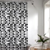 Tiles Vinyl Shower Curtain in Black