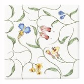English Trellis Decorative Field Tile with Light Floral Pattern