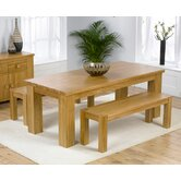 Barcelona Solid Oak Dining Table with Benches
