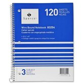 "Notebooks, Wirebound, 3 Subject, 10-1/2""x8"", Wide Ruled, 120SH"